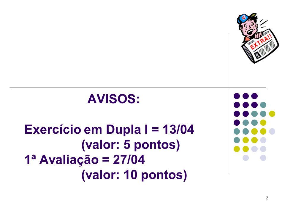 AVISOS: Exercício em Dupla I = 13/04