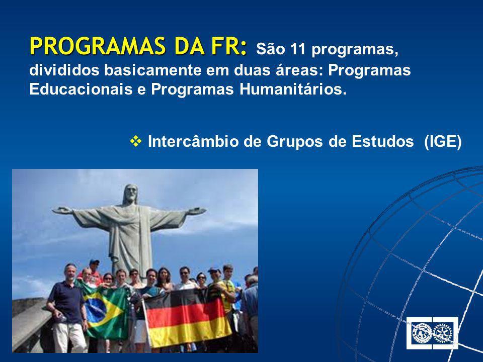 PROGRAMAS DA FR: São 11 programas, divididos basicamente em duas áreas: Programas Educacionais e Programas Humanitários.