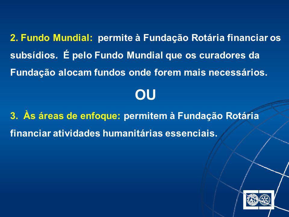 2. Fundo Mundial: permite à Fundação Rotária financiar os subsídios