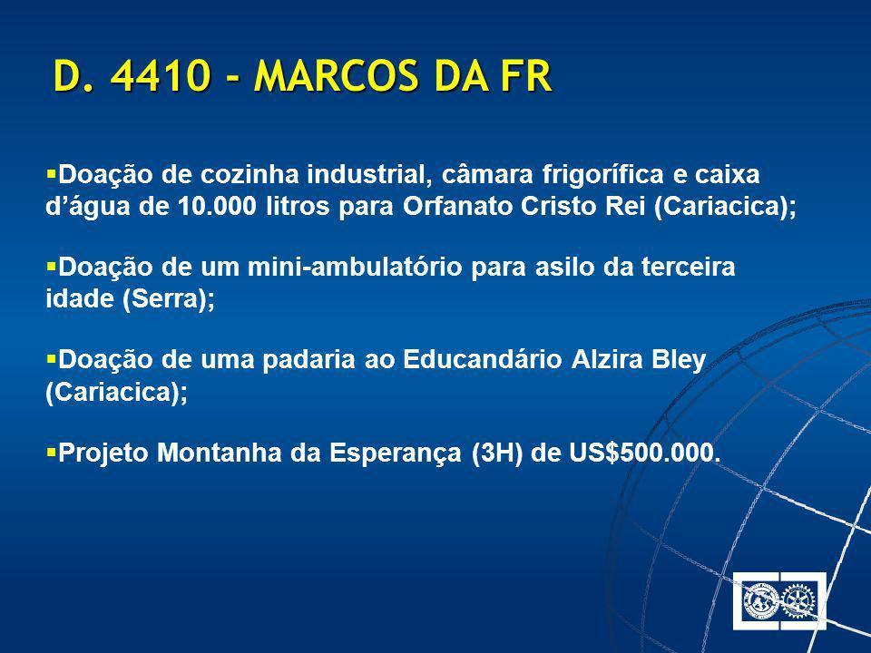 D. 4410 - MARCOS DA FR Doação de cozinha industrial, câmara frigorífica e caixa d'água de 10.000 litros para Orfanato Cristo Rei (Cariacica);