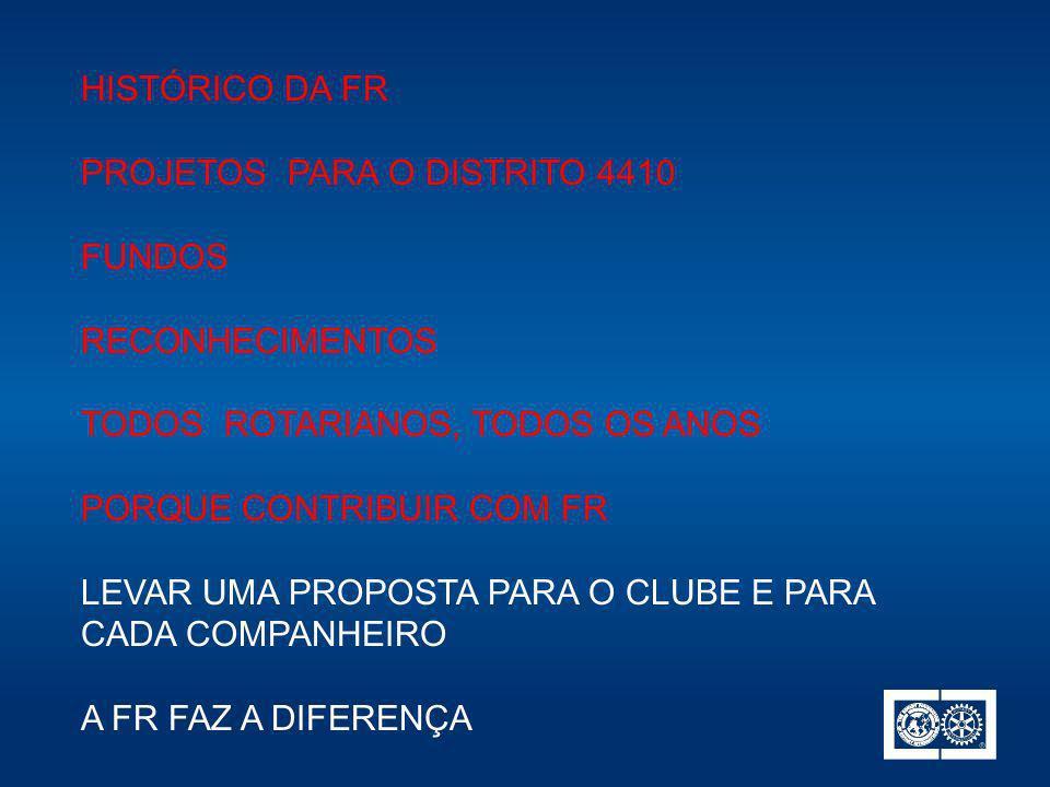 PROJETOS PARA O DISTRITO 4410 FUNDOS RECONHECIMENTOS