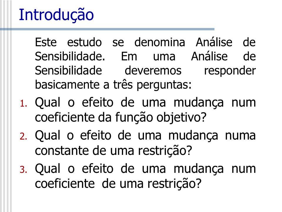 IntroduçãoEste estudo se denomina Análise de Sensibilidade. Em uma Análise de Sensibilidade deveremos responder basicamente a três perguntas: