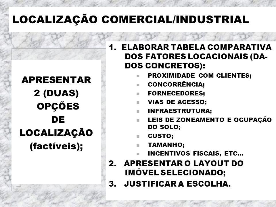LOCALIZAÇÃO COMERCIAL/INDUSTRIAL