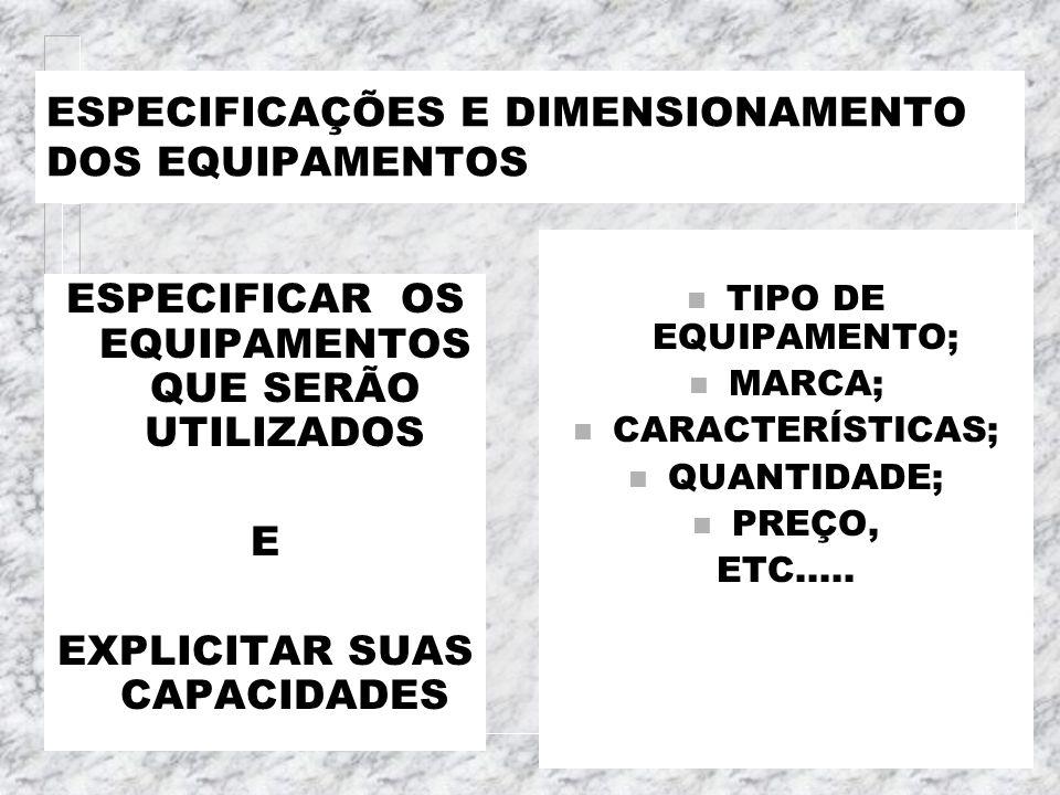 ESPECIFICAÇÕES E DIMENSIONAMENTO DOS EQUIPAMENTOS