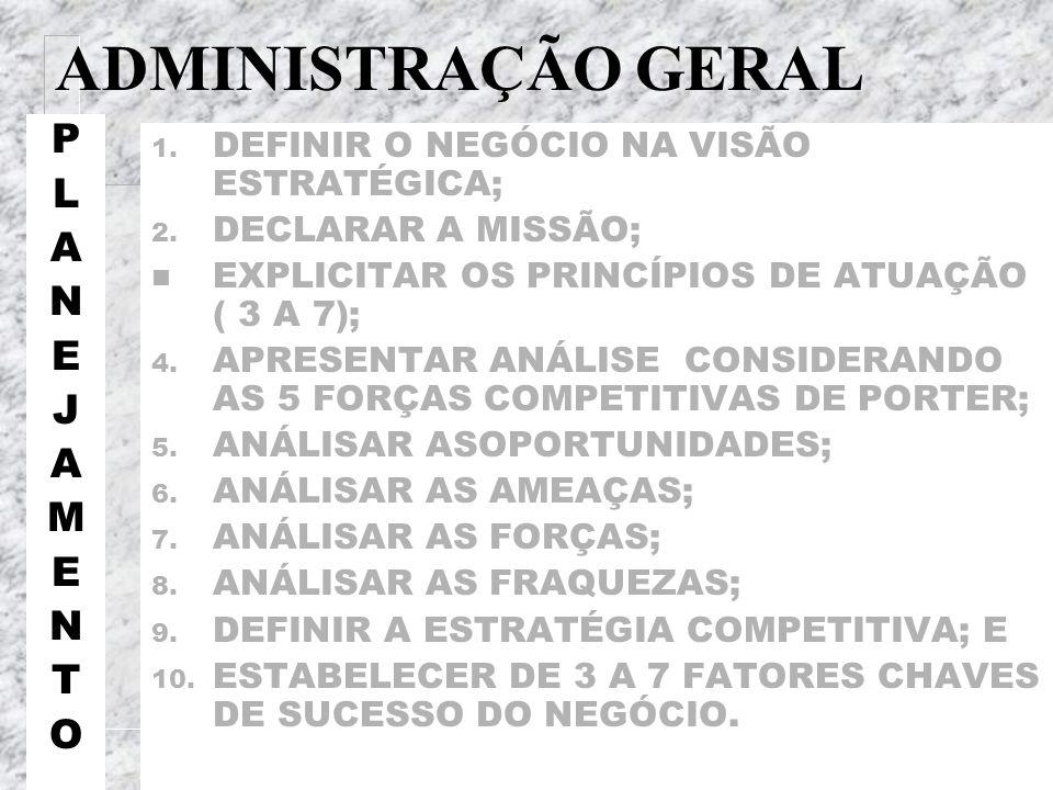 ADMINISTRAÇÃO GERAL P L A N E J M T O