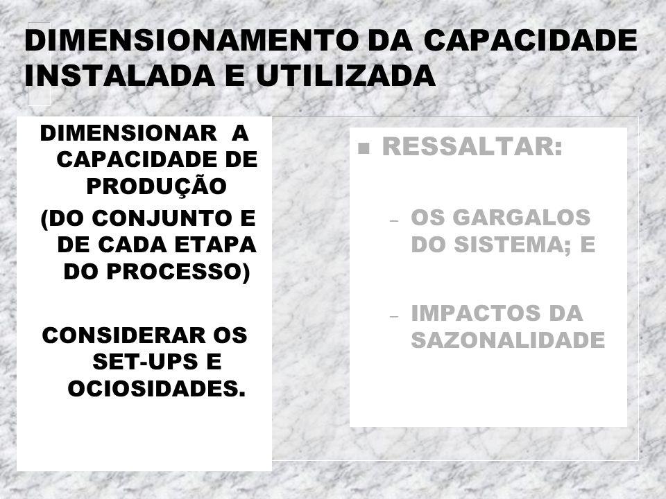 DIMENSIONAMENTO DA CAPACIDADE INSTALADA E UTILIZADA