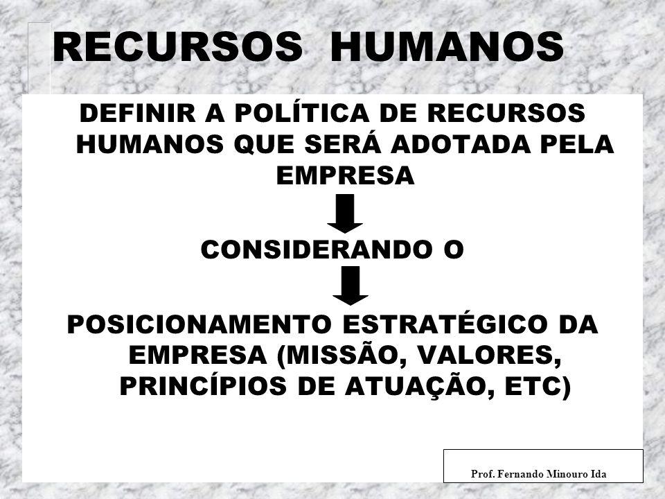 DEFINIR A POLÍTICA DE RECURSOS HUMANOS QUE SERÁ ADOTADA PELA EMPRESA