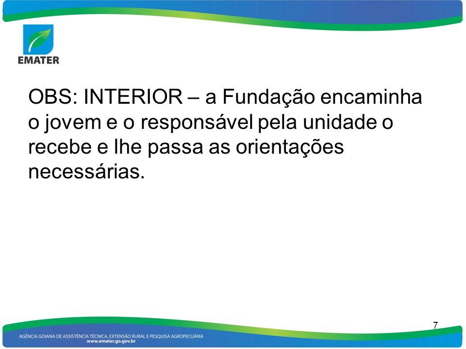 OBS: INTERIOR – a Fundação encaminha o jovem e o responsável pela unidade o recebe e lhe passa as orientações necessárias.
