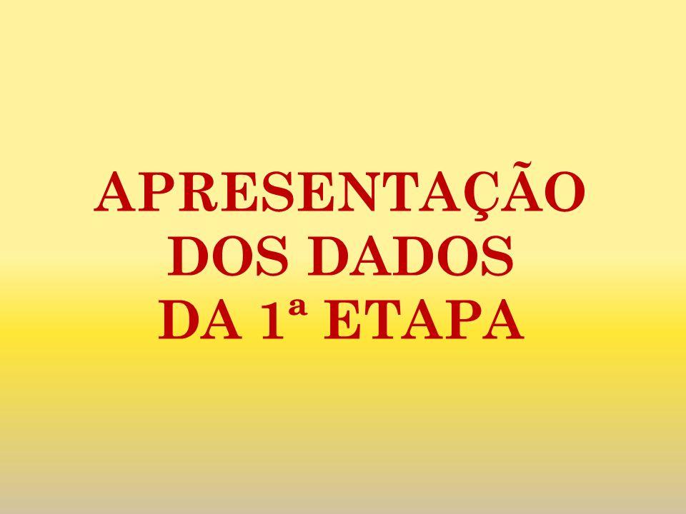 APRESENTAÇÃO DOS DADOS DA 1ª ETAPA