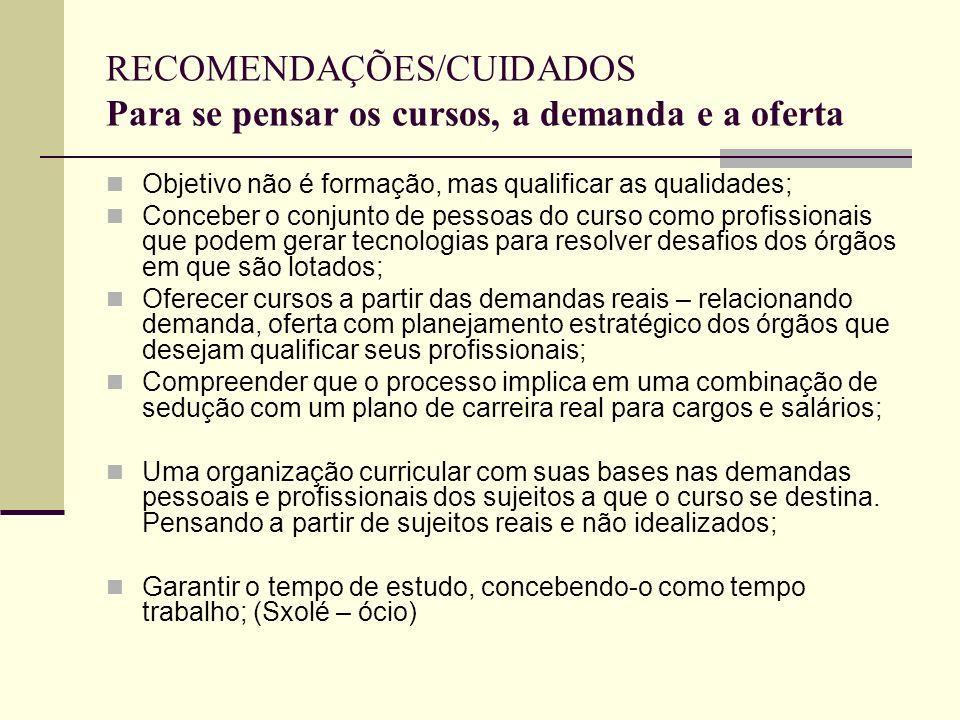RECOMENDAÇÕES/CUIDADOS Para se pensar os cursos, a demanda e a oferta