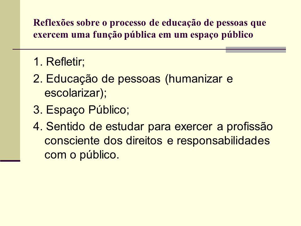 2. Educação de pessoas (humanizar e escolarizar); 3. Espaço Público;