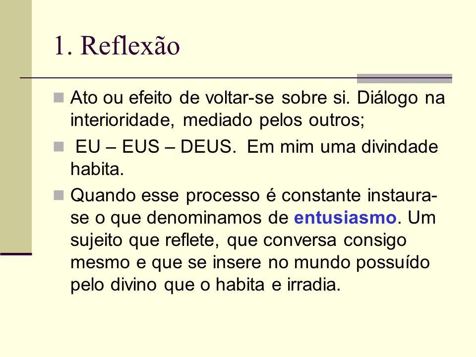 1. ReflexãoAto ou efeito de voltar-se sobre si. Diálogo na interioridade, mediado pelos outros; EU – EUS – DEUS. Em mim uma divindade habita.