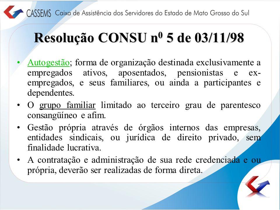 Resolução CONSU n0 5 de 03/11/98