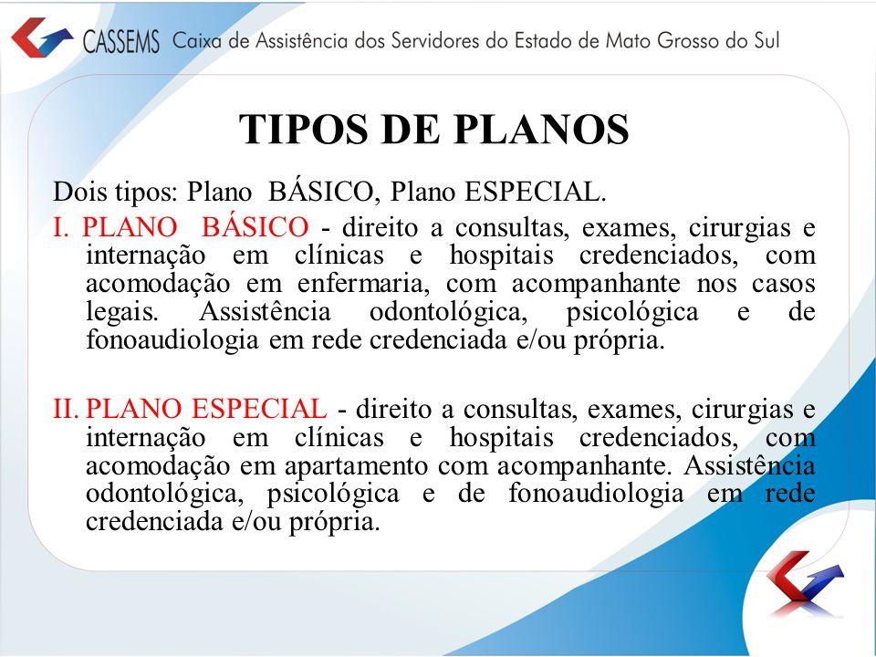TIPOS DE PLANOS Dois tipos: Plano BÁSICO, Plano ESPECIAL.