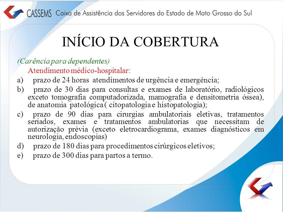 INÍCIO DA COBERTURA (Carência para dependentes)