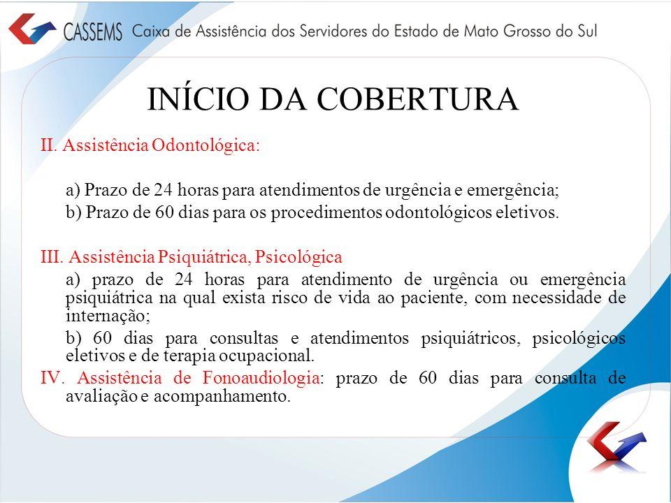 INÍCIO DA COBERTURA II. Assistência Odontológica: