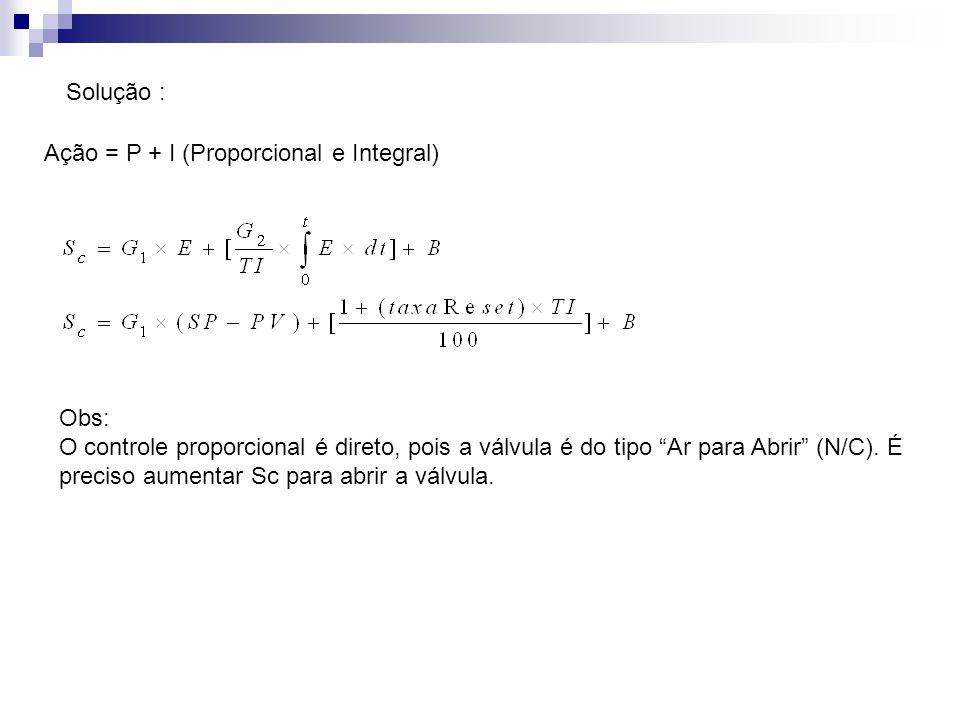 Solução :Ação = P + I (Proporcional e Integral) Obs: