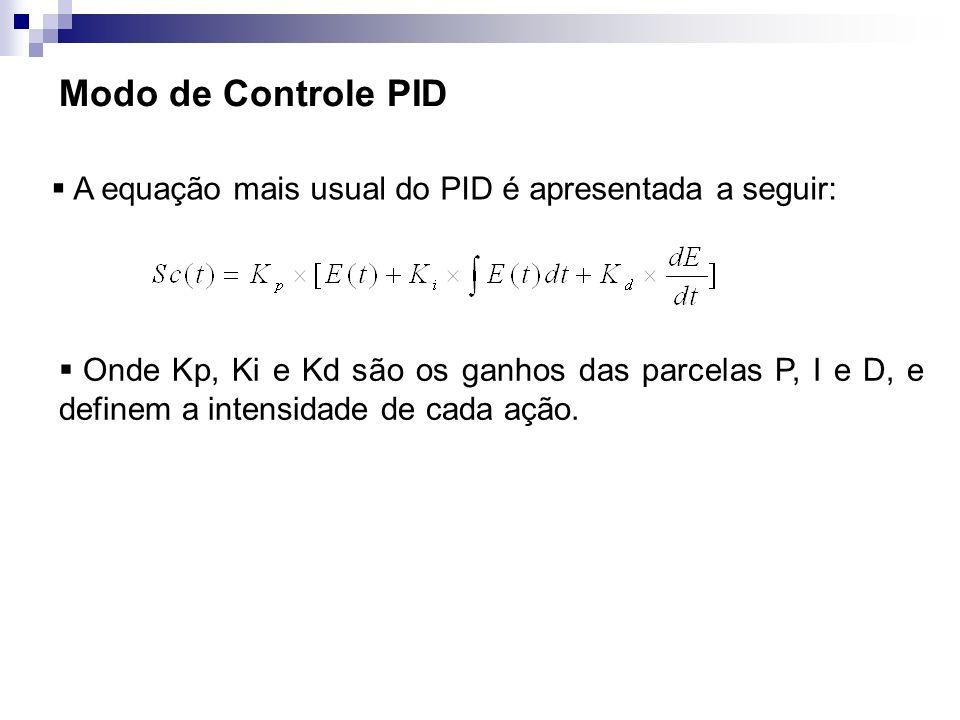 Modo de Controle PID A equação mais usual do PID é apresentada a seguir: