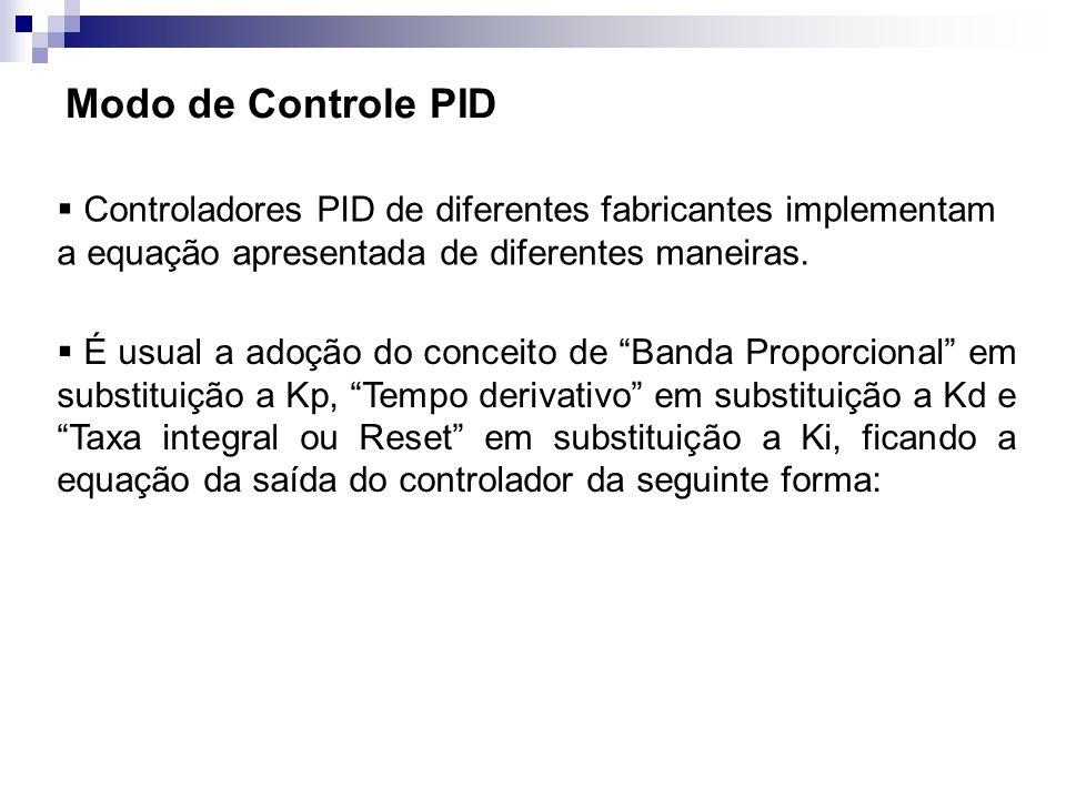 Modo de Controle PID Controladores PID de diferentes fabricantes implementam a equação apresentada de diferentes maneiras.