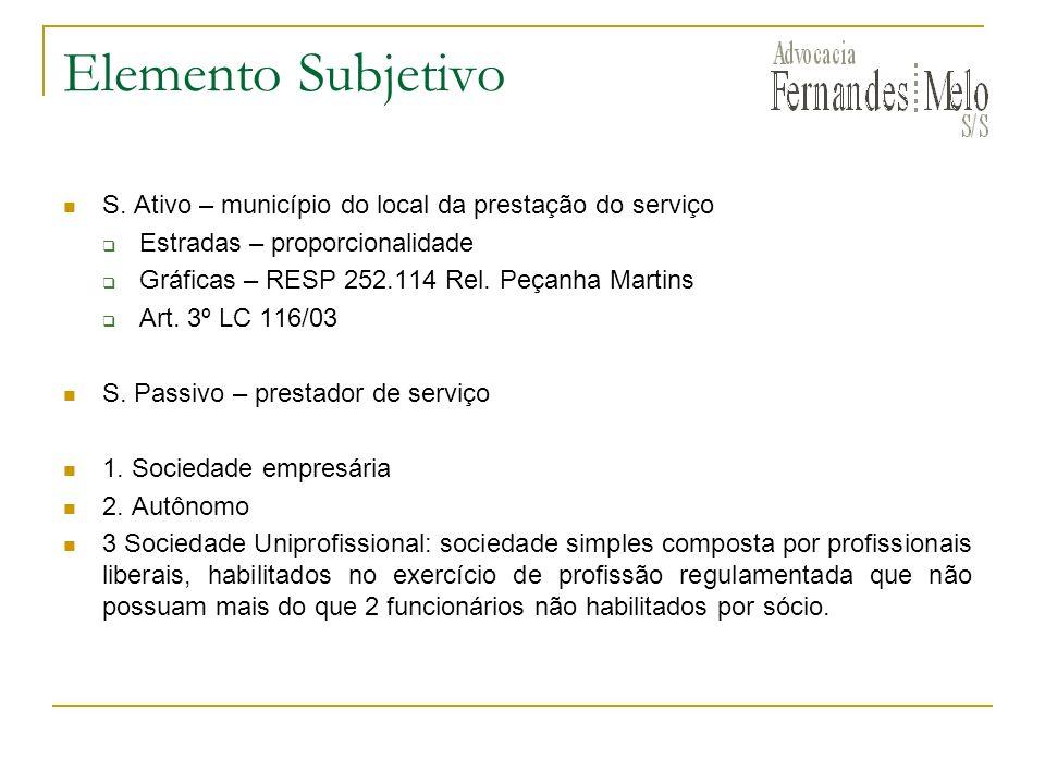 Elemento Subjetivo S. Ativo – município do local da prestação do serviço. Estradas – proporcionalidade.