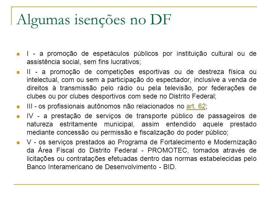 Algumas isenções no DF I - a promoção de espetáculos públicos por instituição cultural ou de assistência social, sem fins lucrativos;