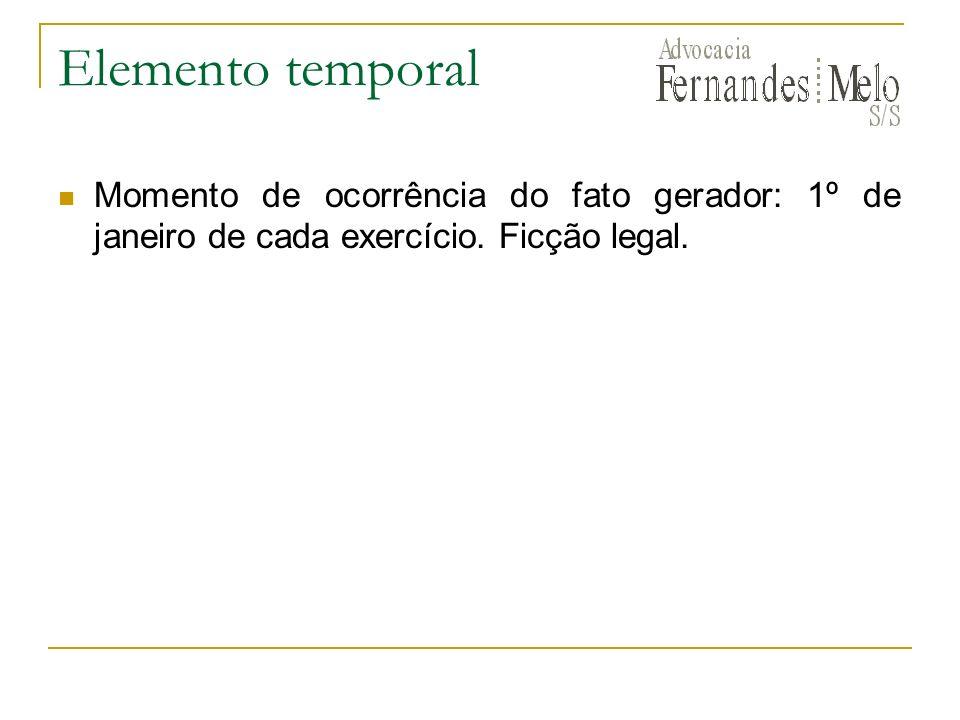 Elemento temporalMomento de ocorrência do fato gerador: 1º de janeiro de cada exercício.