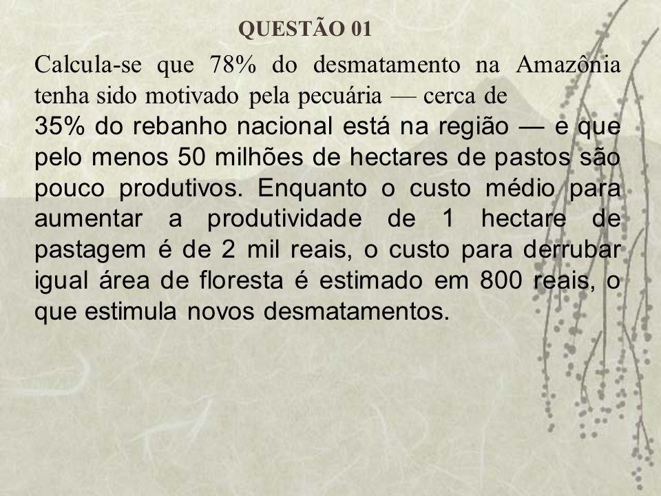 QUESTÃO 01 Calcula-se que 78% do desmatamento na Amazônia tenha sido motivado pela pecuária — cerca de.