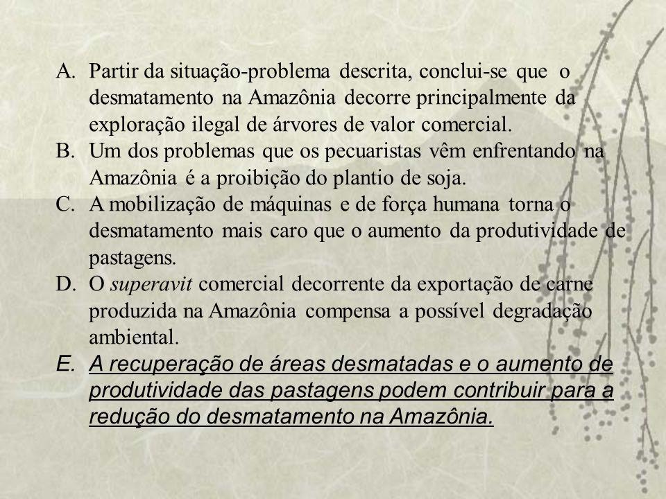 Partir da situação-problema descrita, conclui-se que o desmatamento na Amazônia decorre principalmente da exploração ilegal de árvores de valor comercial.