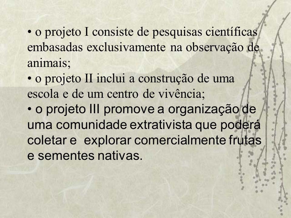 o projeto I consiste de pesquisas científicas embasadas exclusivamente na observação de animais;