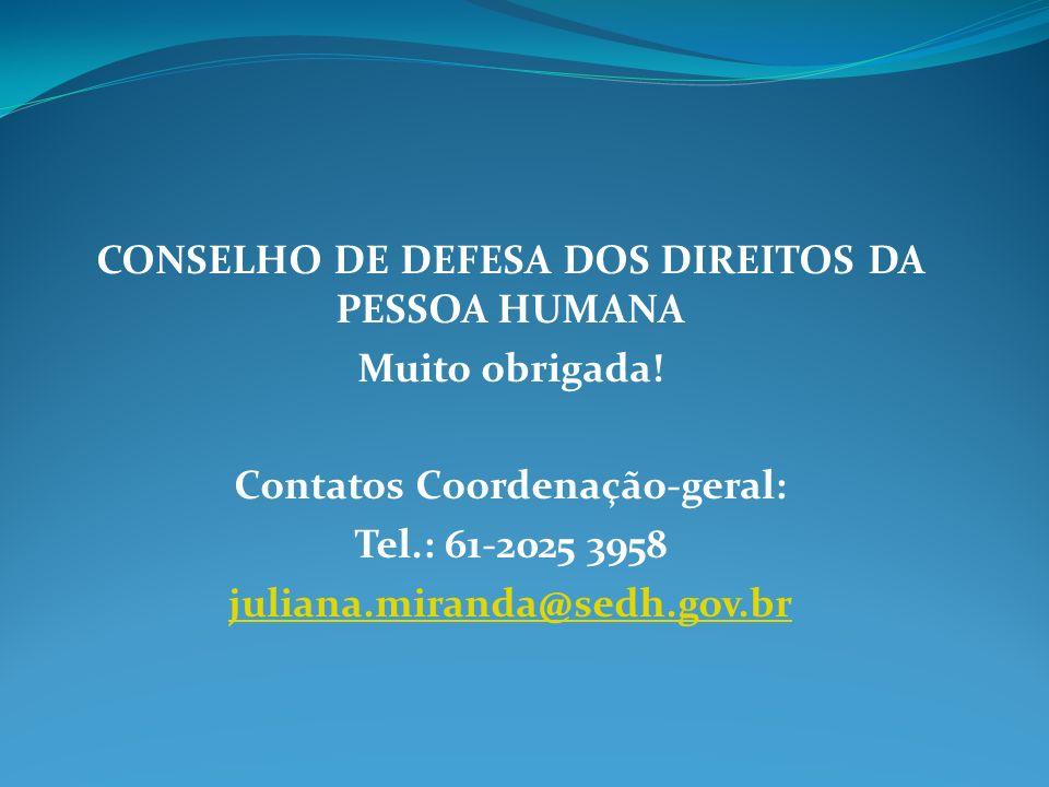 CONSELHO DE DEFESA DOS DIREITOS DA PESSOA HUMANA Muito obrigada!