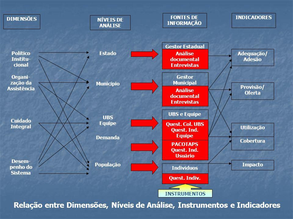 Relação entre Dimensões, Níveis de Análise, Instrumentos e Indicadores