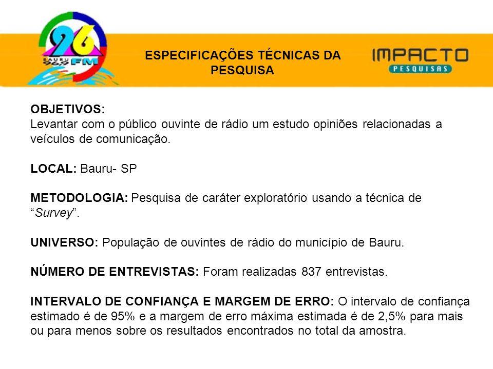ESPECIFICAÇÕES TÉCNICAS DA PESQUISA