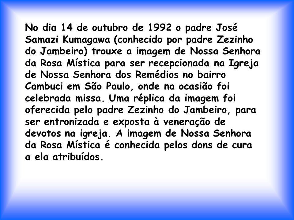 No dia 14 de outubro de 1992 o padre José Samazi Kumagawa (conhecido por padre Zezinho do Jambeiro) trouxe a imagem de Nossa Senhora da Rosa Mística para ser recepcionada na Igreja de Nossa Senhora dos Remédios no bairro Cambuci em São Paulo, onde na ocasião foi celebrada missa.