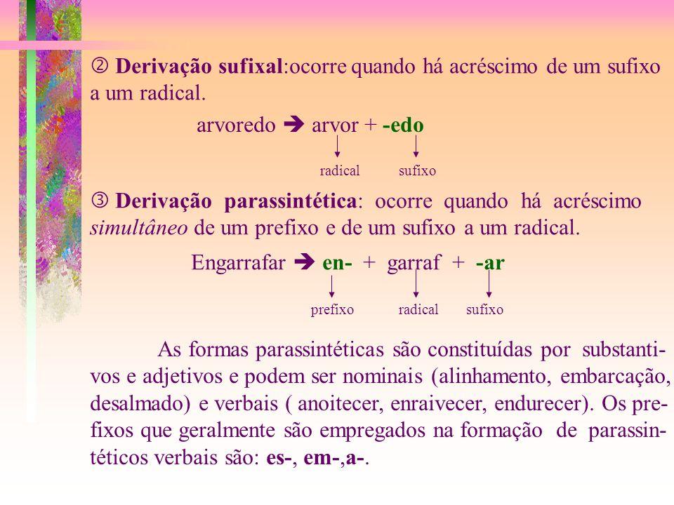  Derivação sufixal:ocorre quando há acréscimo de um sufixo