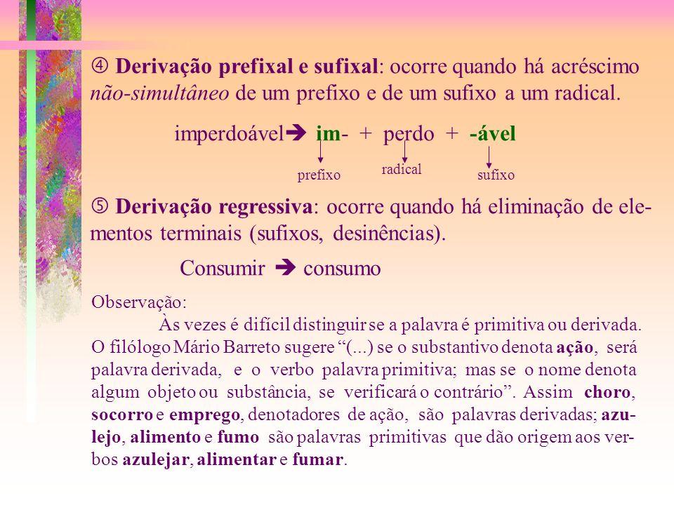  Derivação prefixal e sufixal: ocorre quando há acréscimo