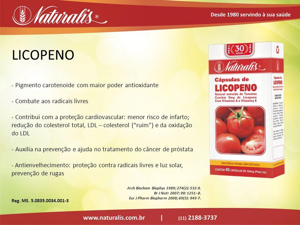 LICOPENO Pigmento carotenoide com maior poder antioxidante