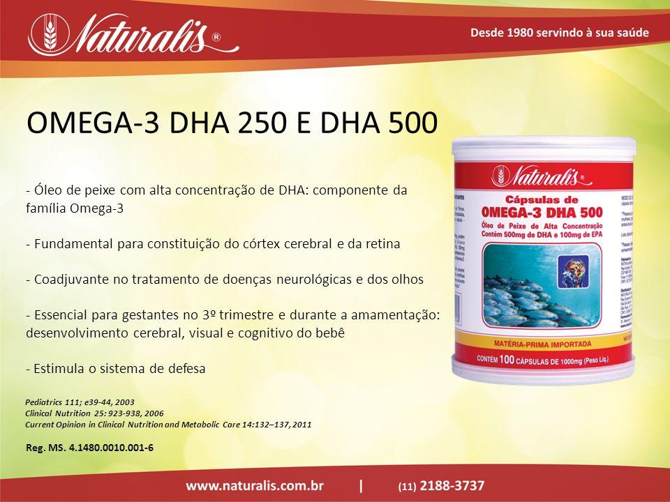OMEGA-3 DHA 250 E DHA 500Óleo de peixe com alta concentração de DHA: componente da família Omega-3.
