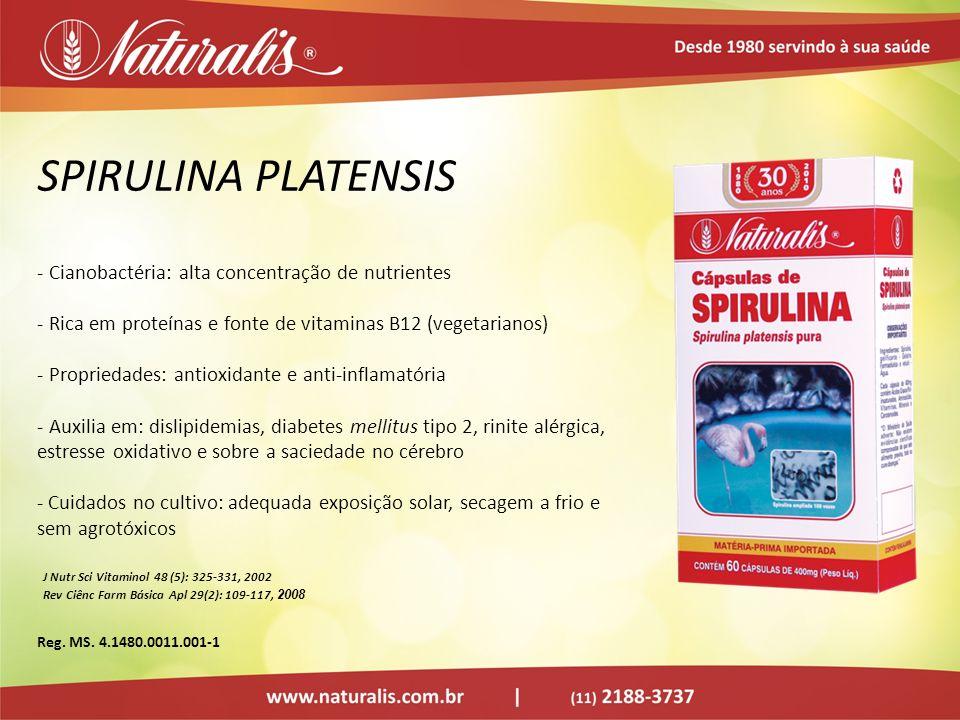 SPIRULINA PLATENSIS Cianobactéria: alta concentração de nutrientes