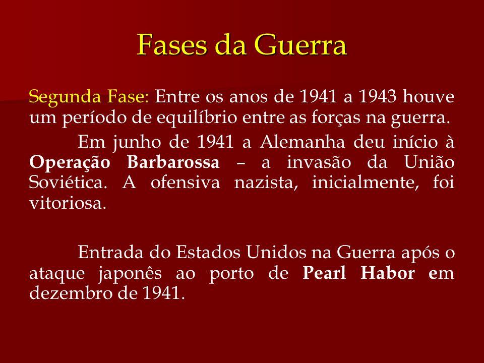 Fases da Guerra Segunda Fase: Entre os anos de 1941 a 1943 houve um período de equilíbrio entre as forças na guerra.