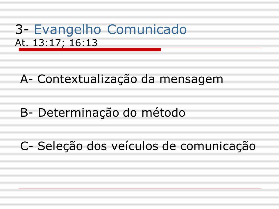 3- Evangelho Comunicado At. 13:17; 16:13