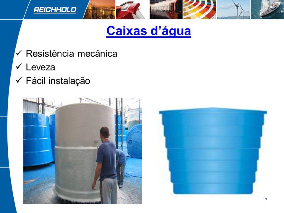 Caixas d'água Resistência mecânica Leveza Fácil instalação