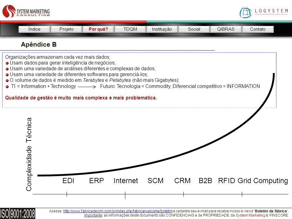 Complexidade Técnica EDI ERP Internet SCM CRM B2B RFID Grid Computing