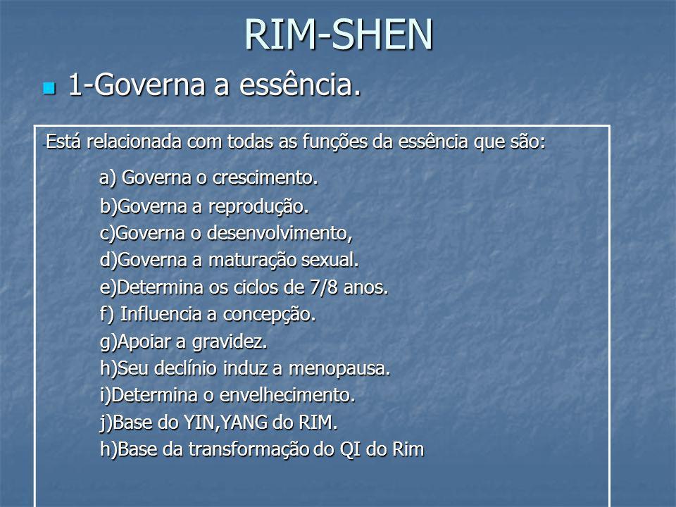 RIM-SHEN 1-Governa a essência. a) Governa o crescimento.