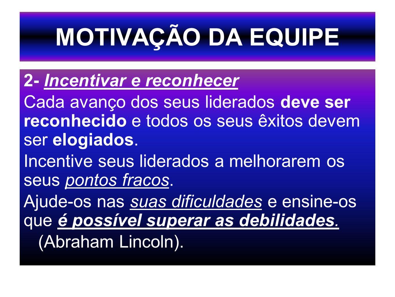 MOTIVAÇÃO DA EQUIPE 2- Incentivar e reconhecer