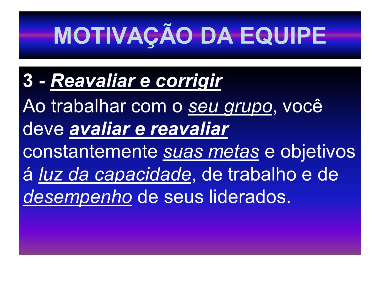 MOTIVAÇÃO DA EQUIPE 3 - Reavaliar e corrigir