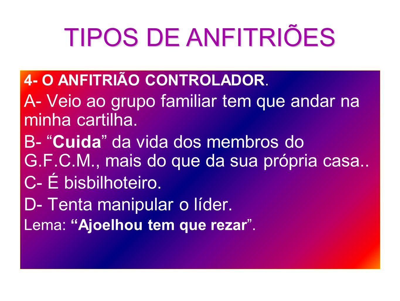 TIPOS DE ANFITRIÕES4- O ANFITRIÃO CONTROLADOR. A- Veio ao grupo familiar tem que andar na minha cartilha.