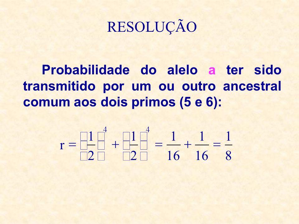 RESOLUÇÃO Probabilidade do alelo a ter sido transmitido por um ou outro ancestral comum aos dois primos (5 e 6):
