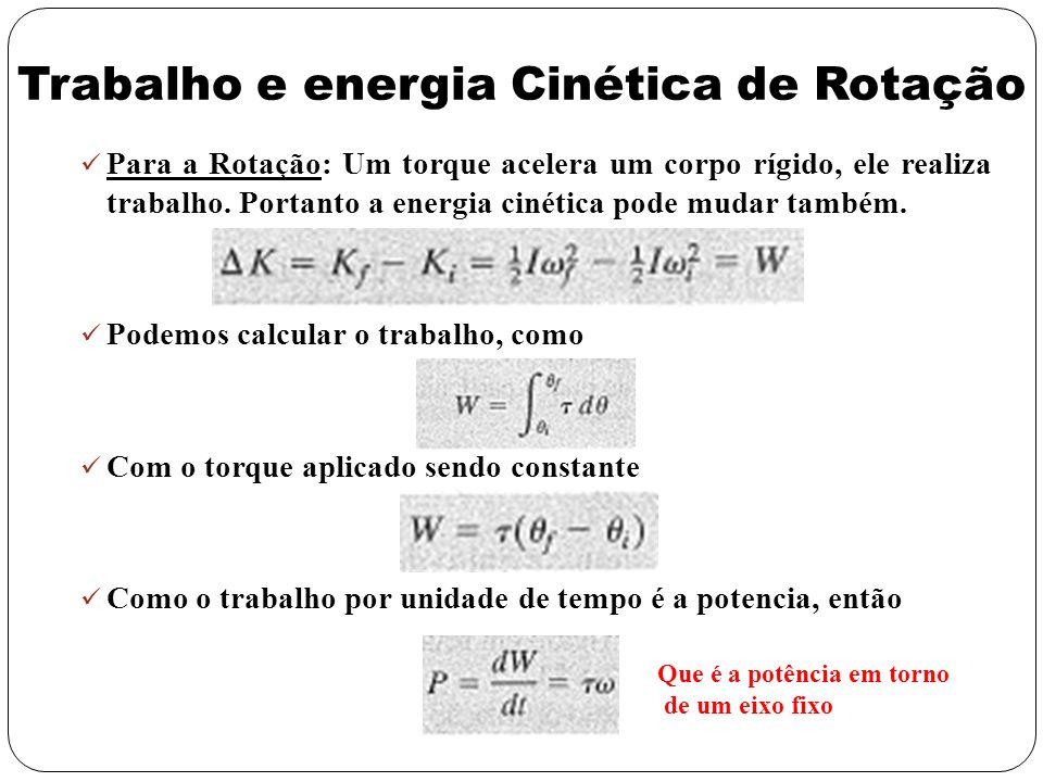 Trabalho e energia Cinética de Rotação