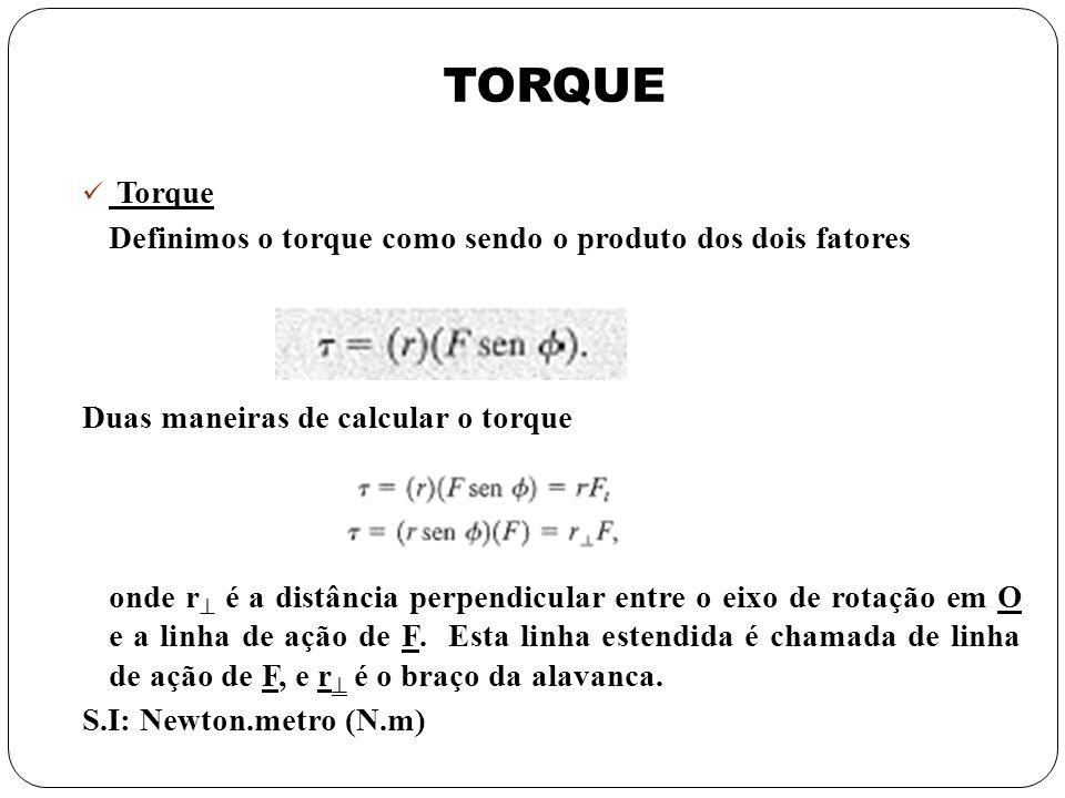 TORQUE Torque Definimos o torque como sendo o produto dos dois fatores