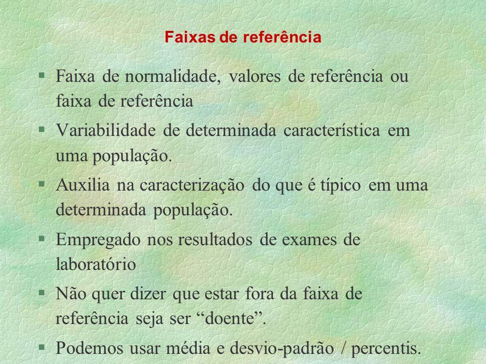 Faixa de normalidade, valores de referência ou faixa de referência